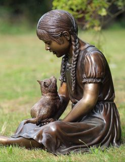 Fine Cast Bronze Sculpture Girl Holding Cat