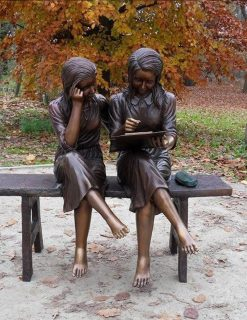 FIGI 62 Fine Cast Solid Bronze Studying Girls on Bench 2 Avant Garden