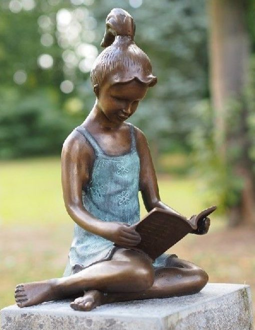 FIGI 63 Fine Cast Solid Bronze Sculpture Girls Study Time 2 | Avant Garden