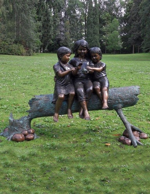 FIGI 64 Fine Cast Bronze Sculpture Tree Girls On Fallen Tree 2 | Avant Garden