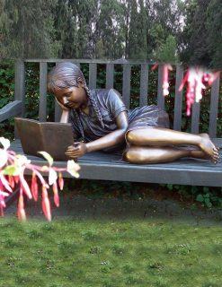 FIGI 65 Fine Cast Bronze Sculpture Girl Reading On Bench 2 Avant Garden Guernsey