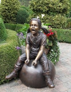 FIGI 71 Fine Cast Solid Bronze Girl on Space Hopper Sculpture 1 | Avant Garden