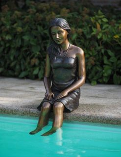 Girl Sitting By Pool Fine Cast Bronze Sculpture
