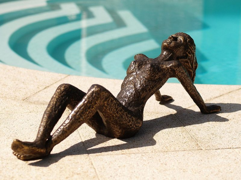 Bronze Sculpture Modern Sunbathing Woman