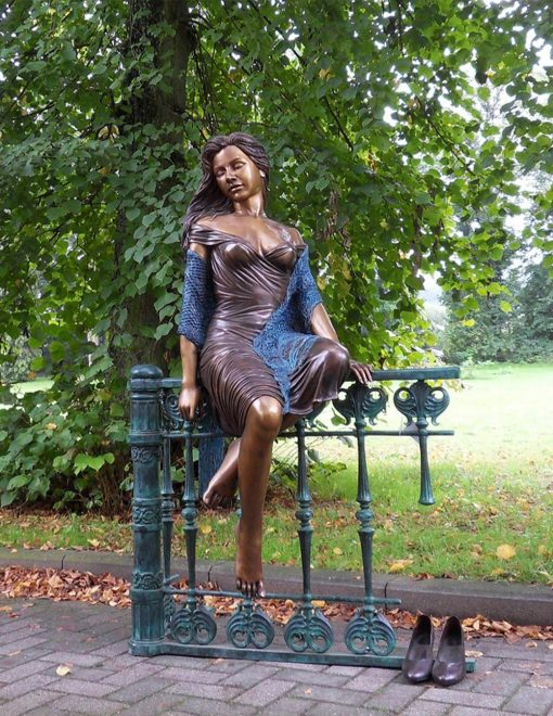 FIWO 36 Fine Cast Solid Bronze Sculpture Lady Fence Avant Garden