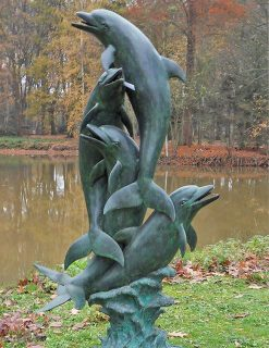 FO 12 Fine Cast Bronze Fountain Sculpture Dolphins Water Feature 212cm high | Avant Garden