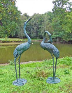 FO 34 Solid Bronze Heron Pair Fountain Sculpture 1 | Avant Garden