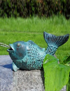 FO 55 Fine Cast Solid Bronze Fountain Fish Koi Carp Sculpture Water Feature | Avant Garden
