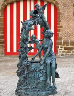 FO 69 Solid Bronze Fountain Woman With Angels Sculpture On Well 1 | Avant Garden