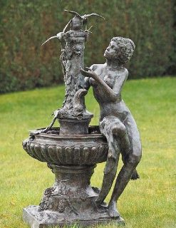 FO 70 Solid Bronze Fountain Lady Sitting with Birds 1 | Avant Garden