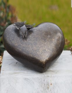 MESU 34 Cremation Urn Memorial Heart Butterflies Solid Bronze 1 | Avant Garden