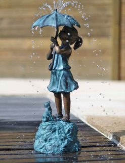Bronze Sculpture Fountain Girl Dog Umbrella