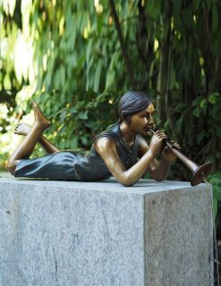 FIGI 61 Fine Cast Bronze Sculptures Fountain Girl w Trumpet 72cm | Avant Garden