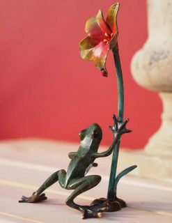 MI 43 Fine Cast Solid Bronze Frog With Flower Sculpture 1 | Avant Garden