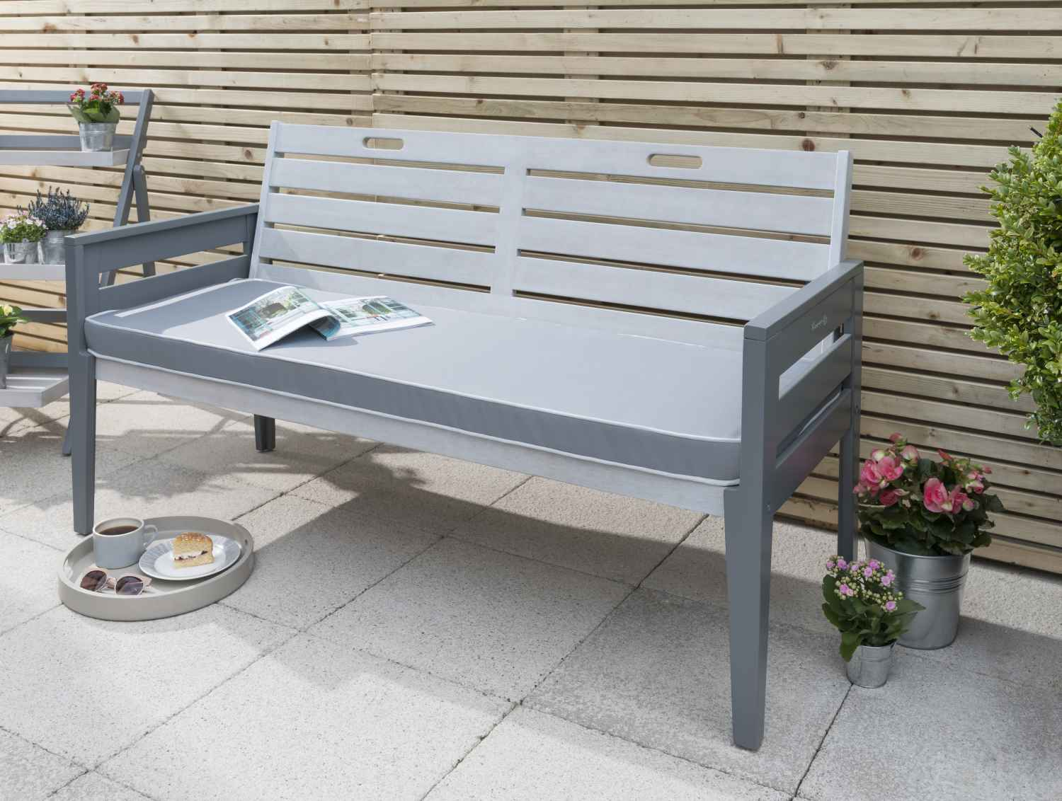 English Garden Range Three Seat Bench Set Greywash Grey ...