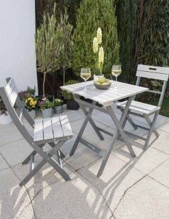 Bistro Set Greywash Grey