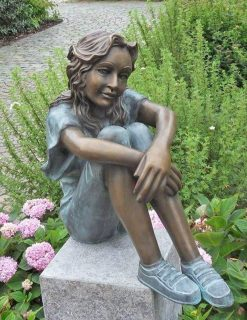 FIGI 30 Fine Cast Solid Bronze Sculpture Sitting Girl 1 | Avant Garden