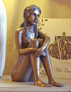 FIGI 48 Solid Bronze Girl Sitting Sculpture 35cm | Avant Garden