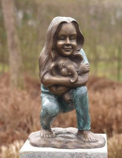 FIGI 51 Fine Cast Solid Bronze Girl Hugging Toy Elephant Sculpture 1 | Avant Garden