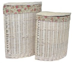 H079 Glencoe Laundry Hamper Corner Willow Basket set of two White 1 | Avant Garden Guernsey