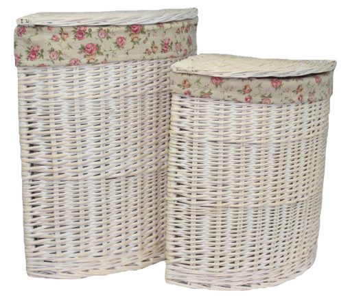 H079 Glencoe Laundry Hamper Corner Linen Basket Set Of Two White 1 |  Avant Garden Guernsey
