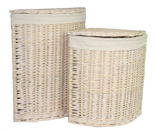 H082 Fraserburgh Laundry Hamper Corner  Willow  Set Of Two White 1 | Avant Garden Guernsey
