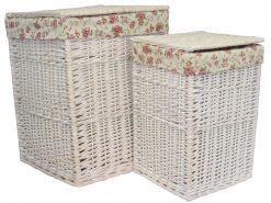 HO 78 Inverness Laundry Hamper Willow Basket set of two Square White | Avant Garden Guernsey