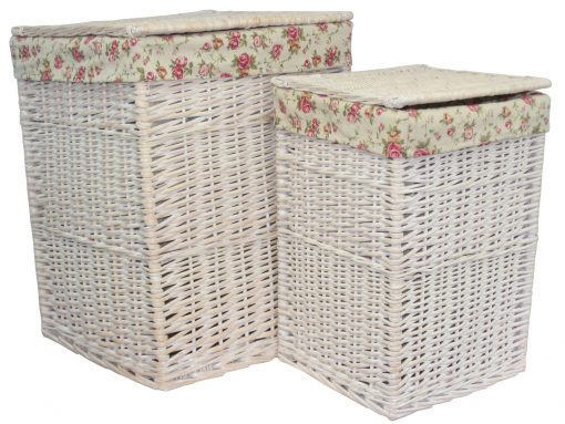 HO 78 Inverness Laundry Hamper Willow Basket Square White 1 | Avant Garden Guernsey