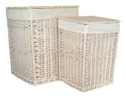 HO81 Skipness Willow Laundry Hamper Basket set of two Square White 1 Avant Garden Guernsey