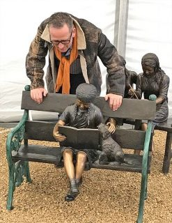Fine Cast Bronze Sculpture Girl and Dog on Bench 2 | Avant Garden