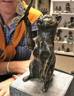 Bronze Sculpture Butterfly Cat