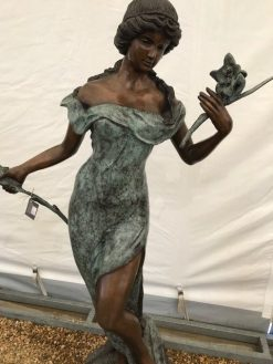 Fine Bronze Fountain Water feature Woman with Flowers