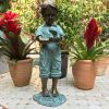 Boy holding Bird by Exotics Solid Bronze Sculpture (1) | Avant Garden