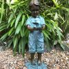 Boy holding Bird by Agapanthus Solid Bronze Sculpture (1) | Avant Garden
