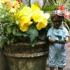 Boy holding Bird by big pot Solid Bronze Sculpture (1) | Avant Garden
