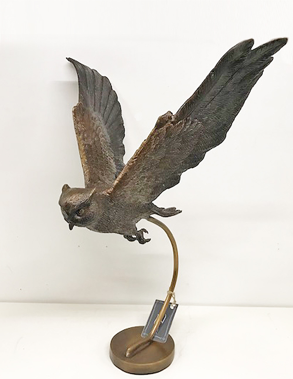 Owl Bird Of Prey Flying Solid Bronze Sculpture (3) | Avant Garden