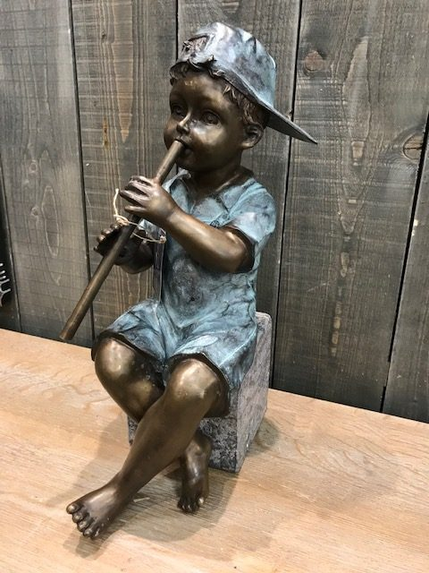 FIBO 7 Solid Bronze Young Boy Playing Flute Fountain Water Feature 3 | Avant Garden