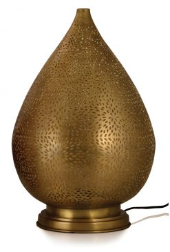 Rocco Table Lamp Babloo Large 50cm finished in Antique Brass with a gold lacquer interior