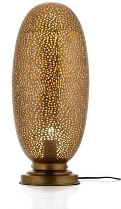 Rocco Table Lamp Lamba Large 48cm finished in Antique Brass with a gold lacquer interior