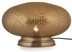 Rocco Table Lamp Makti Large 40cm finished in Matt Nickel with a gold lacquer interior