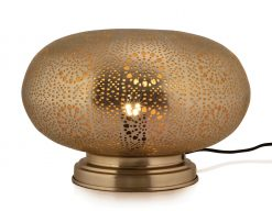 Rocco Table Lamp??Makti??Medium 34cm finished in??Matt Nickel??with a gold lacquer interior