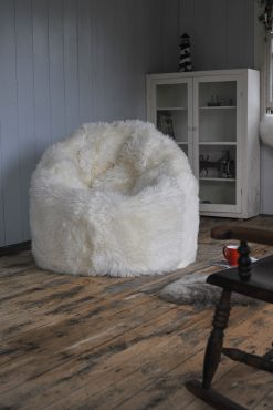 Luxuriously Large Sheepskin Beanbag Ivory Long Wool Luxe 2 | Avant Garden