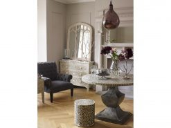 Petals Grey Bone Inlaid Round Dining Table on Metal Base