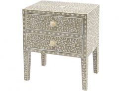 Petals Two Drawer Chest Grey Bone Inlaid