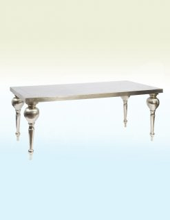 Astor Hand Embossed Rectangular Metal Dining Table