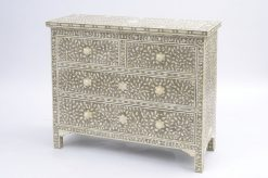 Petals Four Drawer Cabinet Grey Bone In laid