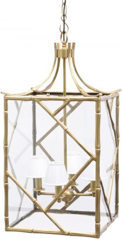 Libra Company Lantern Chandelier Brass Bamboo with white shades | Avant Garden Guernsey