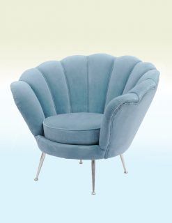 Libra Company Halcyon Collection Blue Velvet Shell Chair Set of Two