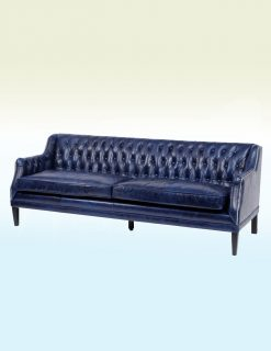Libra Company Halcyon Blue Leather Three Seater Sofa
