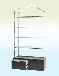 Libra Company Gatsby Black Base Stainless Steel Bookcase | Avant Garden Guernsey